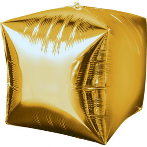 Amscan Fóliový balón Kostka - zlatý 38 x 38 cm