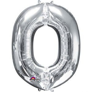 Amscan Mini fóliový balónek písmeno O 33 cm stříbrný
