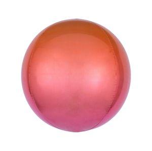 Amscan Ombre červeno-oranžový fóliový balonek - koule