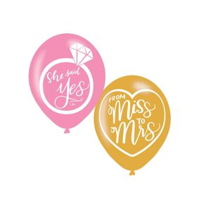 "Amscan Svatební balonky ""She said yes, From Miss to Mrs"""