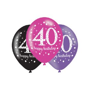Amscan Latexové balonky 40. narozeniny - růžová party