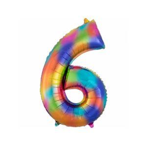 Amscan Fóliový balonek narozeninové číslo 6 dúhový 86 cm