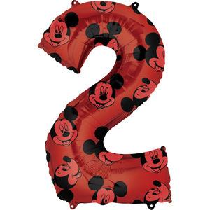 Amscan Balónek fóliový narozeninové číslo 2 - Mickey Mouse 66 cm