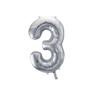 PartyDeco Fóliový balónek narozeninové číslo 3 stříbrný 86cm
