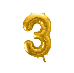 PartyDeco Fóliový balónek narozeninové číslo 3 zlatý 86cm