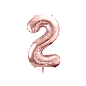 PartyDeco Fóliový balónek narozeninové číslo 2 - růžovo-zlatý