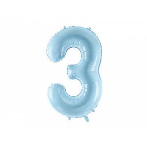 PartyDeco Fóliový balónek narozeninové číslo 3 - světlemodrý