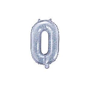 PartyDeco Fóliový balónek Mini - Číslo 0 holografický 35cm