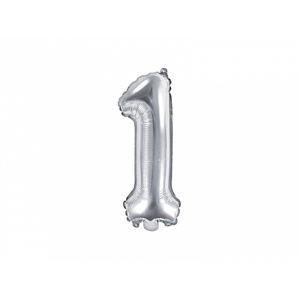PartyDeco Fóliový balónek Mini - Číslo 1 stříbrný 35cm