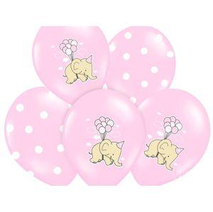 PartyDeco Balónek pastelový růžový sloník