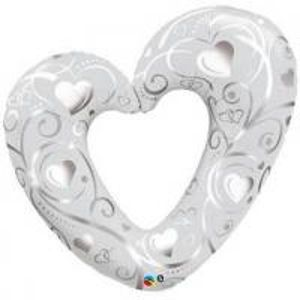 BP Fóliový balónek Stříbrné srdce