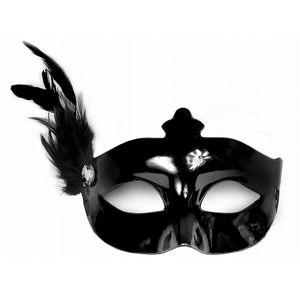 PartyDeco Párty maska s pírkem - černá