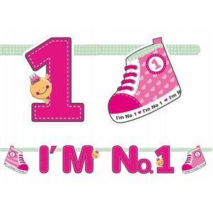 PartyDeco Banner Jsem číslo 1 - růžový