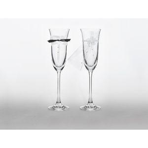PartyDeco Svatební sklenice s motýlkem a závojem