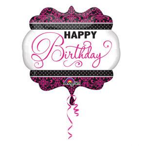 Amscan Fóliový balónek Happy Birthday růžovo černý 63 x 55 cm
