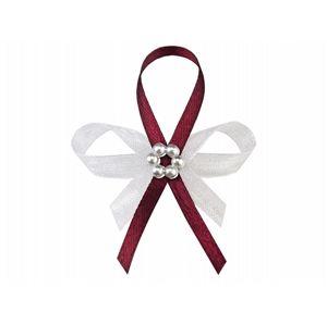 PartyDeco Svatební pírko s perlami tmavě červené