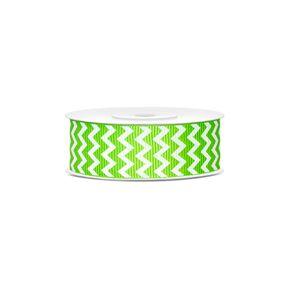 PartyDeco Rypsová stuha se vzorem chevron zelená 25mm/10m
